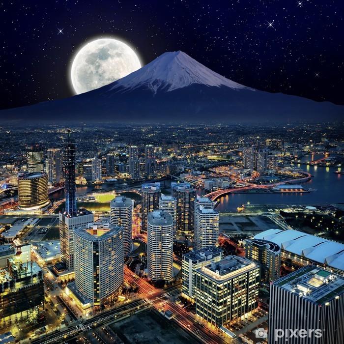 Vinilo Pixerstick Visión surrealista de la ciudad de Yokohama y el Monte. Fuji - Temas