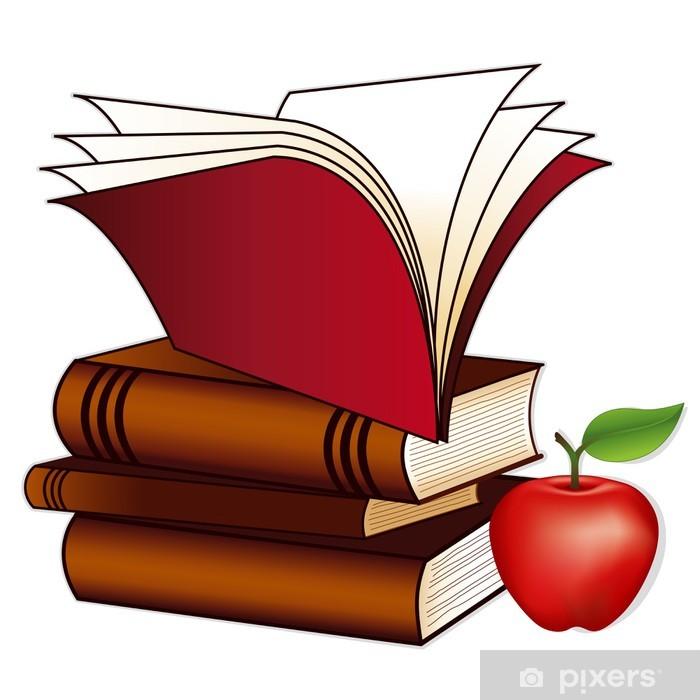 Fototapeta winylowa Książki, jabłko dla nauczyciela, kopia przestrzeń, do szkoły, edukacja - Naklejki na ścianę