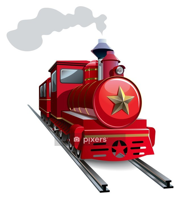 Old steam locomotive with golden star, vector Wall Decal - Railway