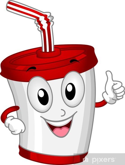 Sticker Pixerstick Plastic Cup Mascot - Eau minérale et sodas