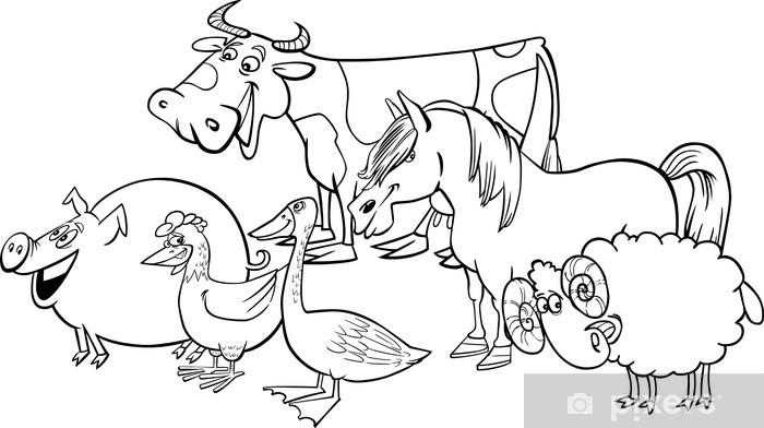 Vinilo Pixerstick Grupo De Animales De Granja De Dibujos Animados