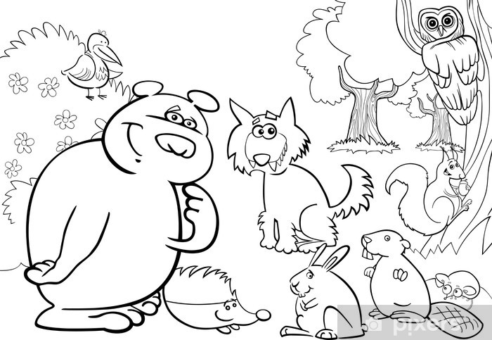 Boyama Kitabi Icin Vahsi Orman Hayvanlari Cikartmasi Pixerstick