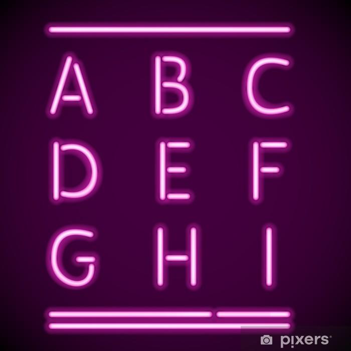 Poster Réaliste néon Alphabet, AI - Thèmes