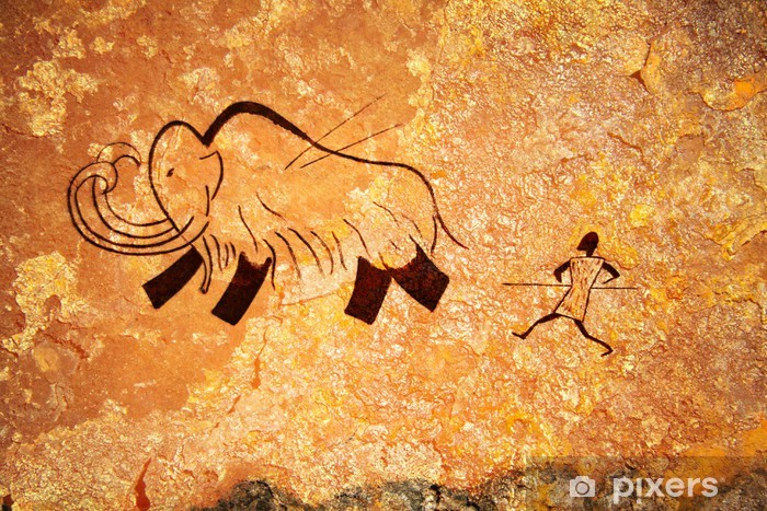 Fotomural Estándar Pintura rupestre de la caza primitiva - Vida familiar