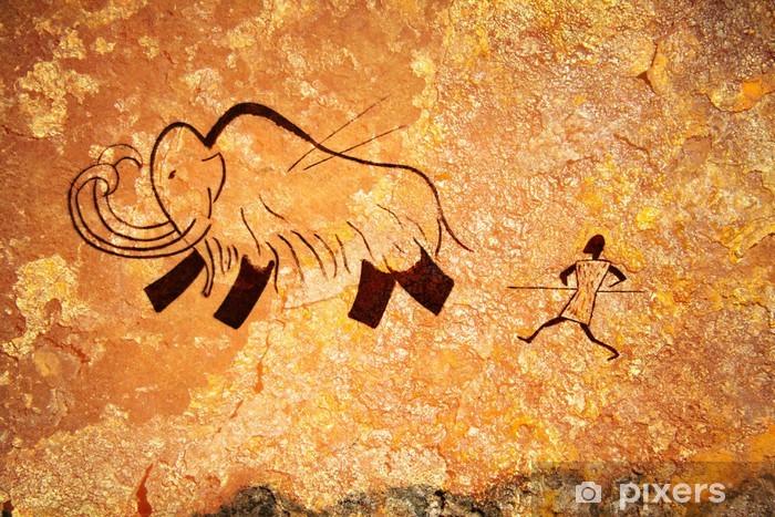 Sticker Pixerstick Peinture rupestre de chasse primitive - Vie de famille