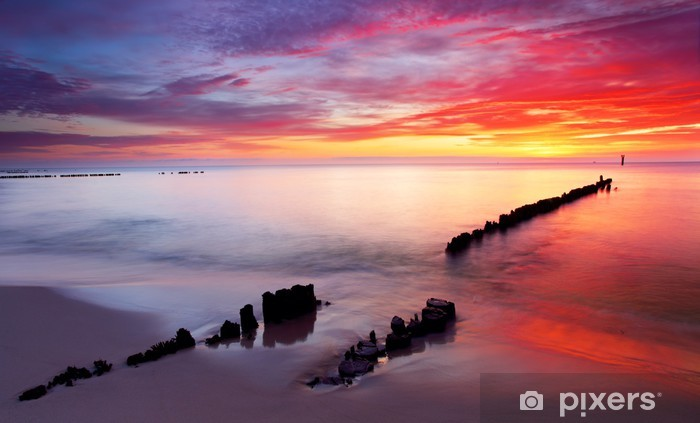 Baltic sea at beautiful sunrise in Poland beach. Vinyl Wall Mural - Themes