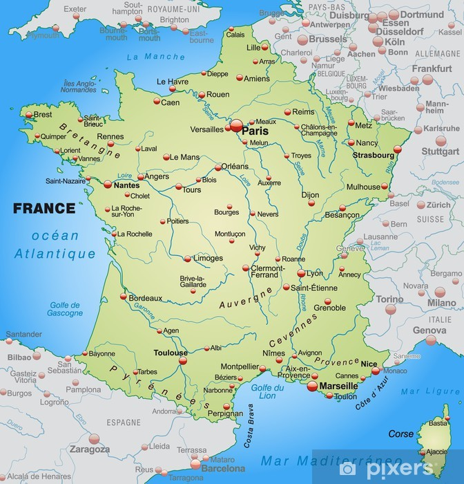 Kort Over Frankrig Med Nabolandene Pixerstick Klistermaerke