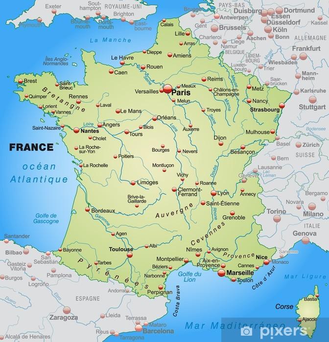 Papier peint vinyle Carte de France avec les pays voisins - Thèmes