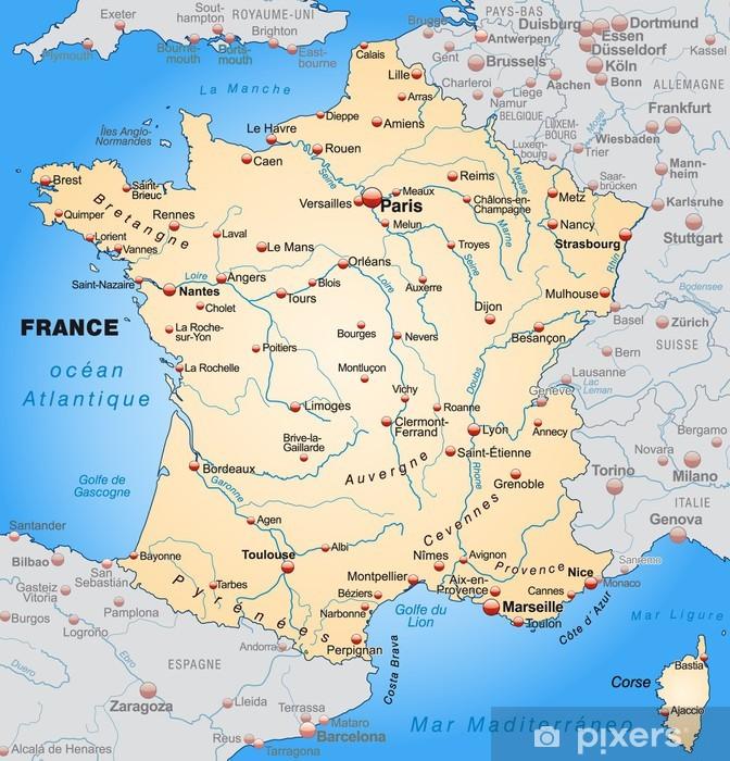 Kort Over Frankrig Med Nabolande I Orange Pixerstick Klistermaerke