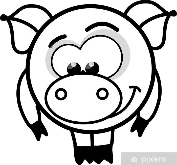 Plakat Cartoon czarno-biały wektor świnia - Ssaki