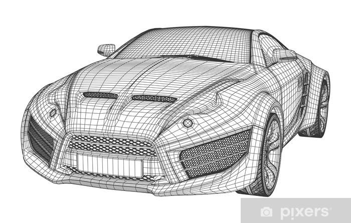 Sports car blueprint  Non branded concept car  Wall Mural - Vinyl
