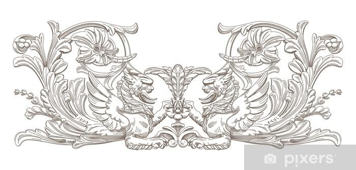 Nálepka Pixerstick Griffin. Vektor Dekorativní prvek. - Struktury