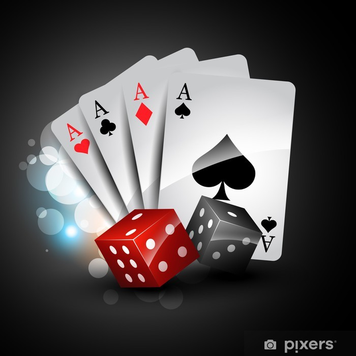 playing card and dices Poster - Entertainment
