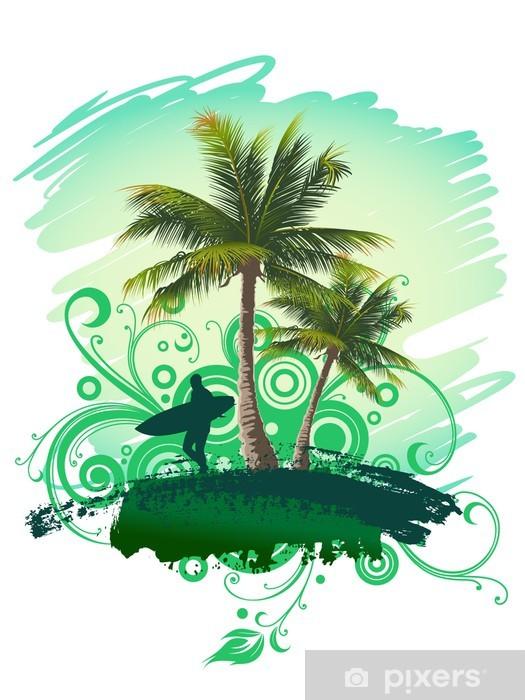 Naklejka Pixerstick Tropikalnych tle z surfer i palmy - Palmy