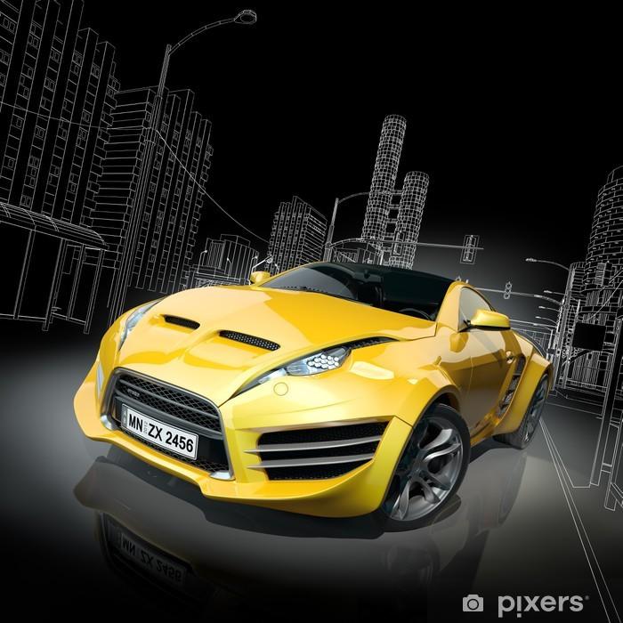 Plakat w ramie Żółty samochód sportowy. Oryginalny design samochodu. -