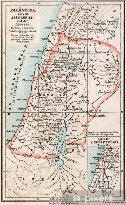 Map of Palestine the time of Jesus. The Bible. Germany, 1895 Wall Mural Biblical Map Of Palestine on palestinian people, map of prehistoric palestine, west bank, map palestine in jesus day, ottoman empire, map of original palestine, map of turkish palestine, jordan river, canaan palestine, map of first century palestine, new testament palestine, map of roman palestine, middle east, map of ancient bible lands, map of historical palestine, map of israel palestine, gaza strip, six-day war, palestinian territories, dead sea, cities in palestine, map of british palestine, map of medieval palestine, yasser arafat, map of ancient palestine, map of modern day palestine, map of jesus palestine,