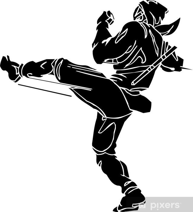 Naklejka Pixerstick Ninja fighter - wektorowe EPS ilustracji. wszystkie winylu gotowe. - Naklejki na ścianę