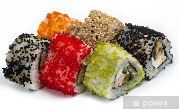 Carta da Parati in Vinile Vari tipi di sushi e sashimi - Sushi