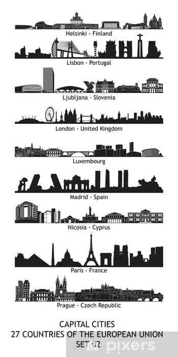 Fotomural Estándar Horizonte de las capitales de la Unión Europea - Set 02 - Ciudades europeas