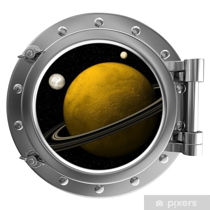 Vinyl Fotobehang Illustratie van een schip patrijspoort met het oog op de ruimte -