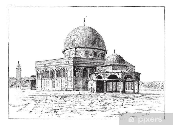 Mosque of Omar, Jerusalem, vintage engraving. Vinyl Wall Mural - The Middle East