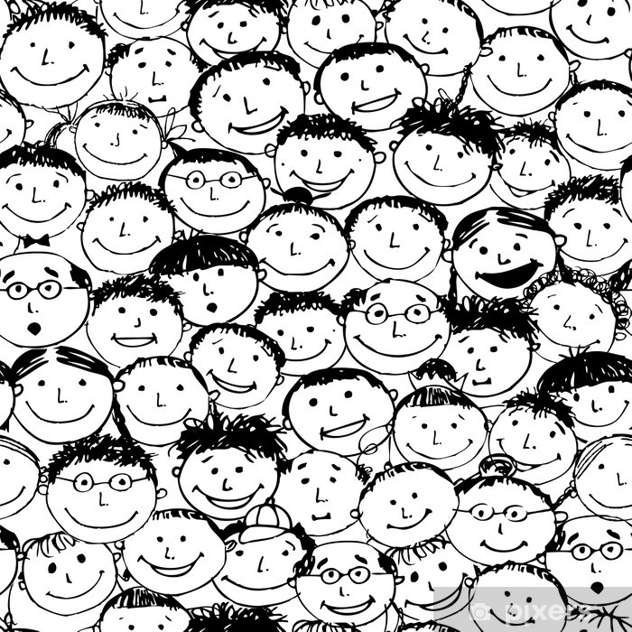 Crowd of funny peoples, seamless background for your design Poster - Backgrounds