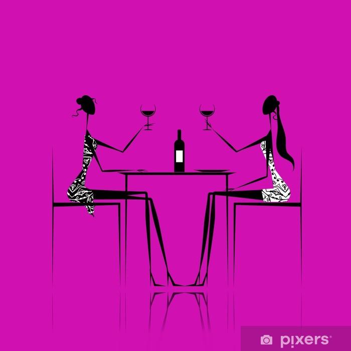 Papier peint vinyle Les filles boivent du vin dans le café - Alcool