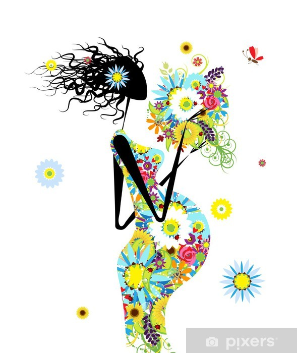 Papier peint vinyle Femme enceinte avec bouquet floral pour votre conception - Vie de famille