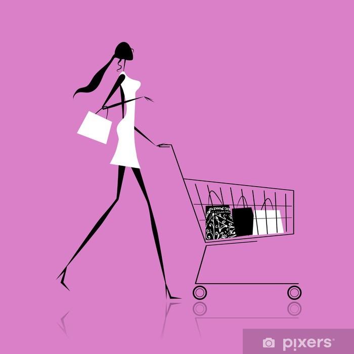 6af9f6d62a593 Vinilo Pixerstick Silueta de la muchacha de moda con bolsas de la compra -  Moda