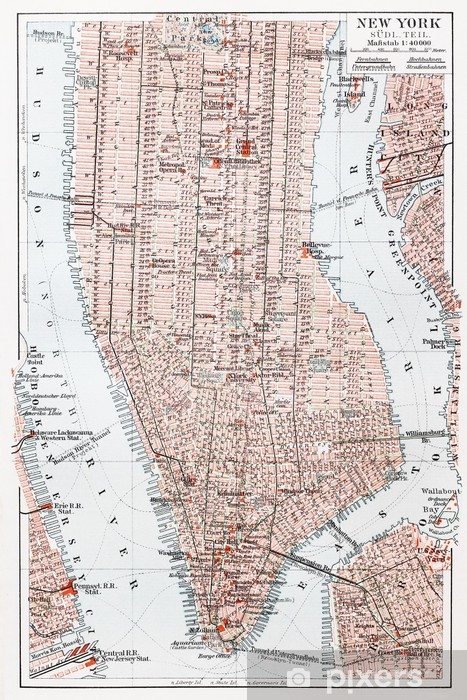 Pixerstick Sticker Vintage kaart van Zuid-Manhattan - New York - Stijlen