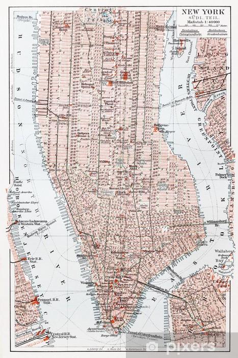 Vintage Kartta Etela Manhattan New York Tapetti Pixers