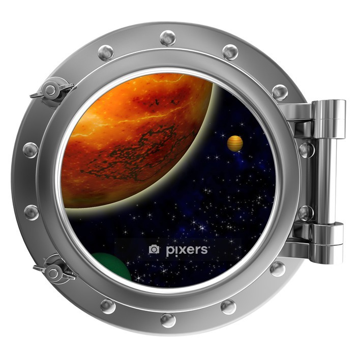 Illustration of a ship porthole with a view to space Wall Decal -