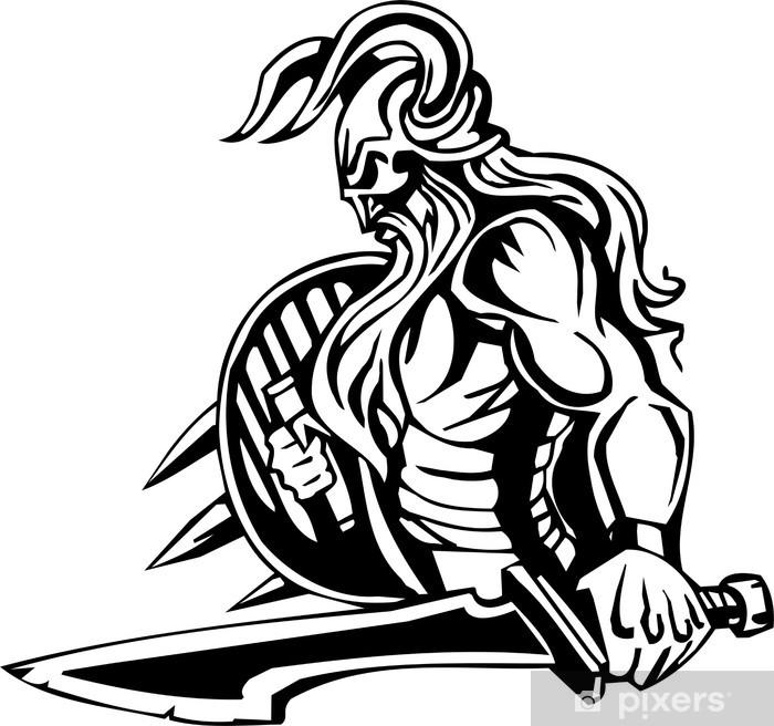 Papier peint vinyle Viking nordique - noir illustration vectorielle blanc. Vinyl-ready. - Art et création