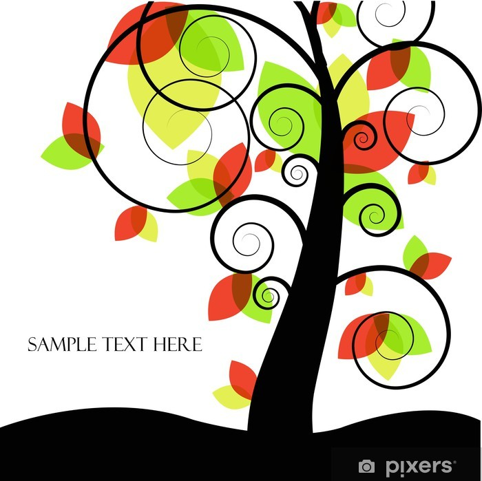 Abstract vector tree with colored leaves Poster - Trees