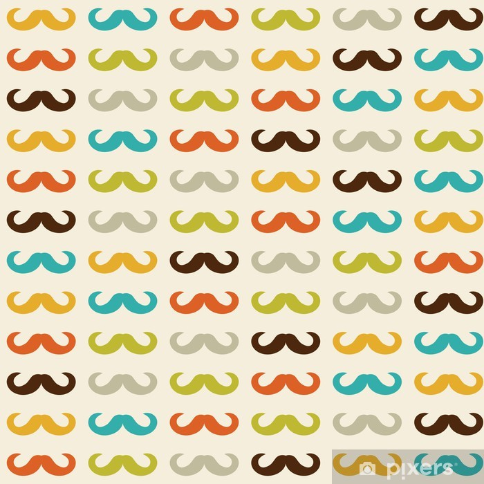 Seamless pattern with mustache Pixerstick Sticker - Moustache