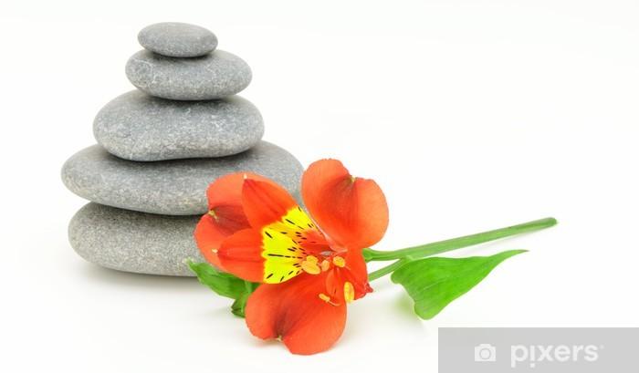 Naklejka Pixerstick Lily kwiat i żwir. - Uroda i pielęgnacja ciała