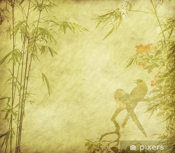 Poster en cadre Oiseaux et Silhouette de branches de bambou sur fond de papier - Bambous