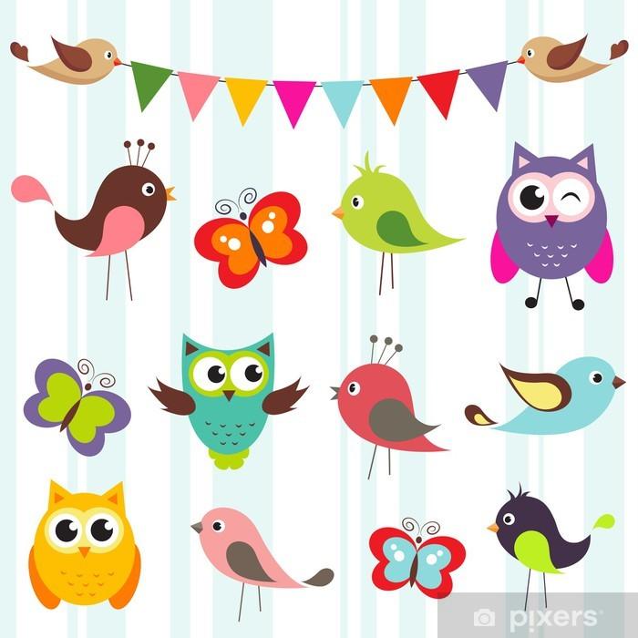 Fototapeta winylowa Zestaw cute ptaków i motyli - Tematy