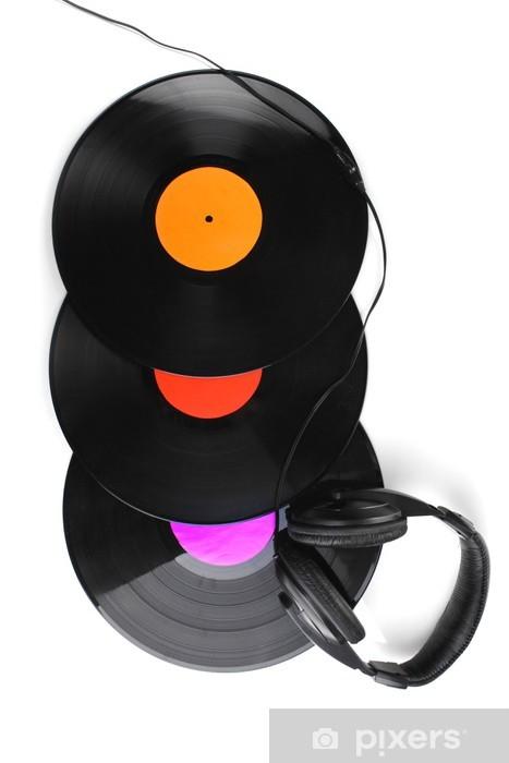 Fotomural Estándar Discos de vinilo negro y auriculares aislados en blanco - Otros objetos