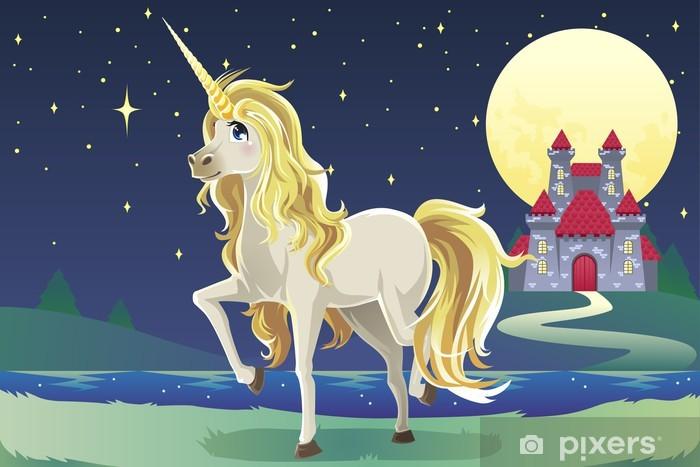 Unicorn i slottet Garderobe klistermærke -