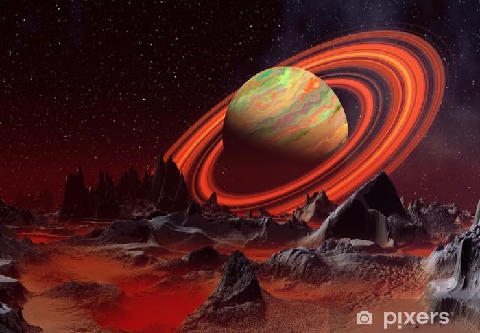 Papier peint vinyle Alien Planet et un Saturne comme planète - Planètes