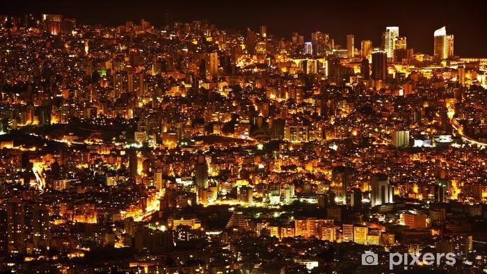 Night city background Pixerstick Sticker - Urban