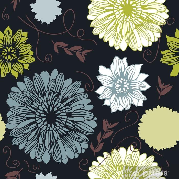 Poster Vector Hintergrund mit Hand gezeichneten Blumen. (Seamless Pattern) - Hintergründe
