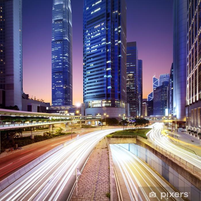 Sticker Pixerstick Hong Kong bussines centre au lever du soleil - Thèmes