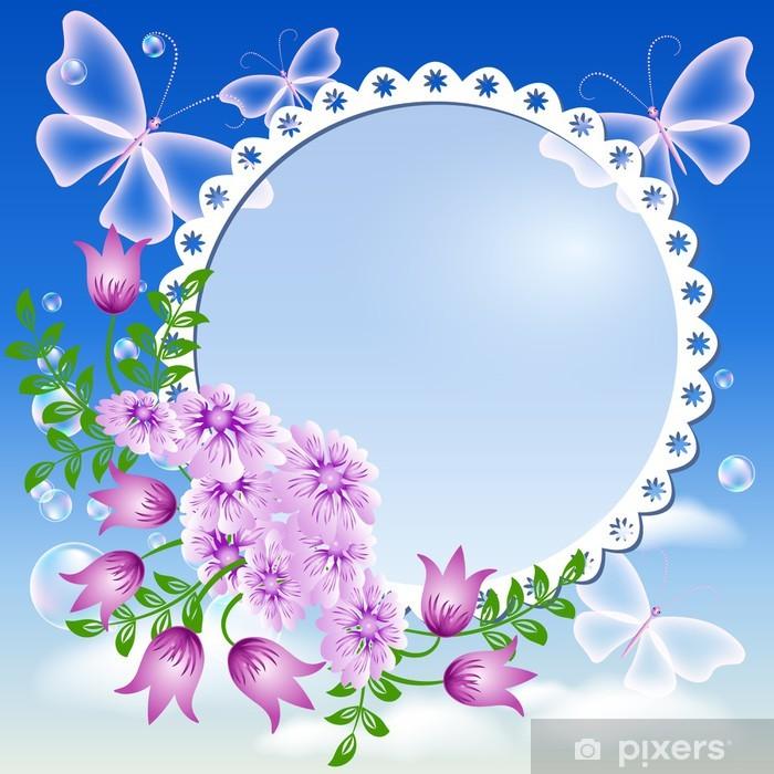 Fototapete Blumen Schmetterlinge In Den Himmel Und Bilderrahmen