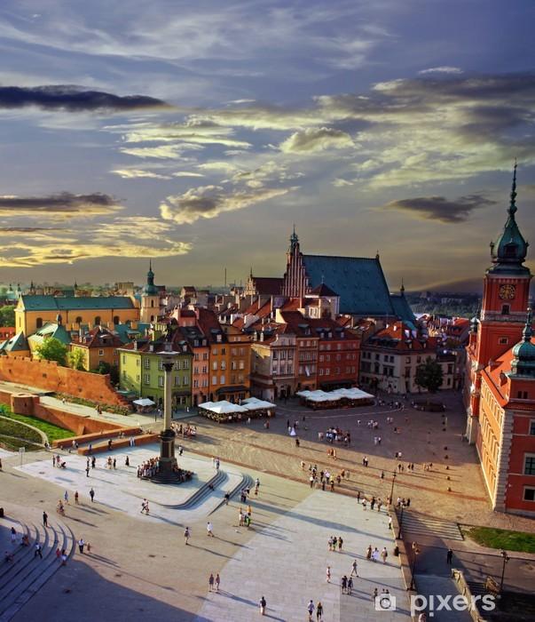 Vinilo Pixerstick Varsovia Plaza del Castillo y la puesta del sol - Temas