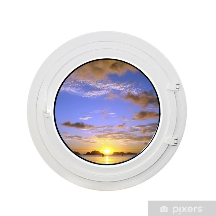 Poster Hublot et coucher de soleil, fond blanc -
