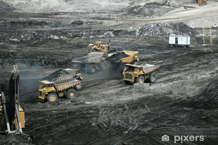 Sticker Pixerstick Engins de terrassement dans une mine à ciel ouvert - Matières premières