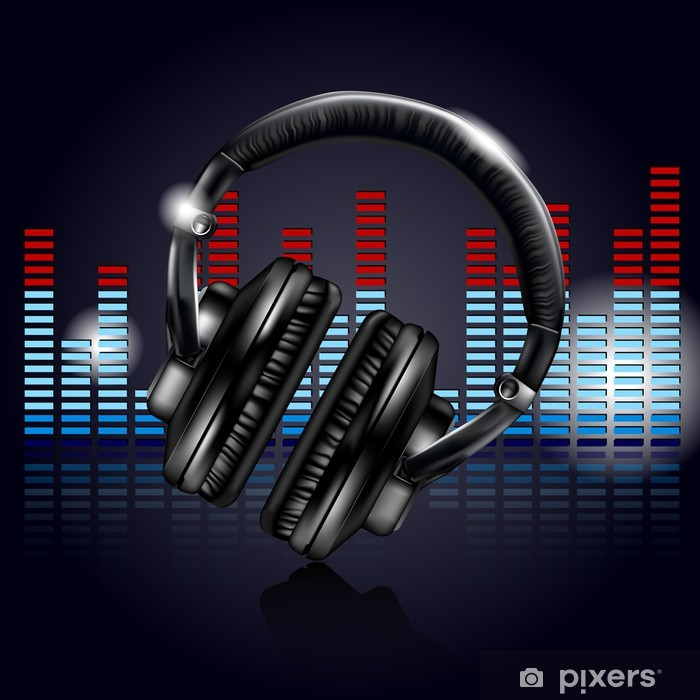 Headphones and equalizer Vinyl Wall Mural - Teenage boy's room