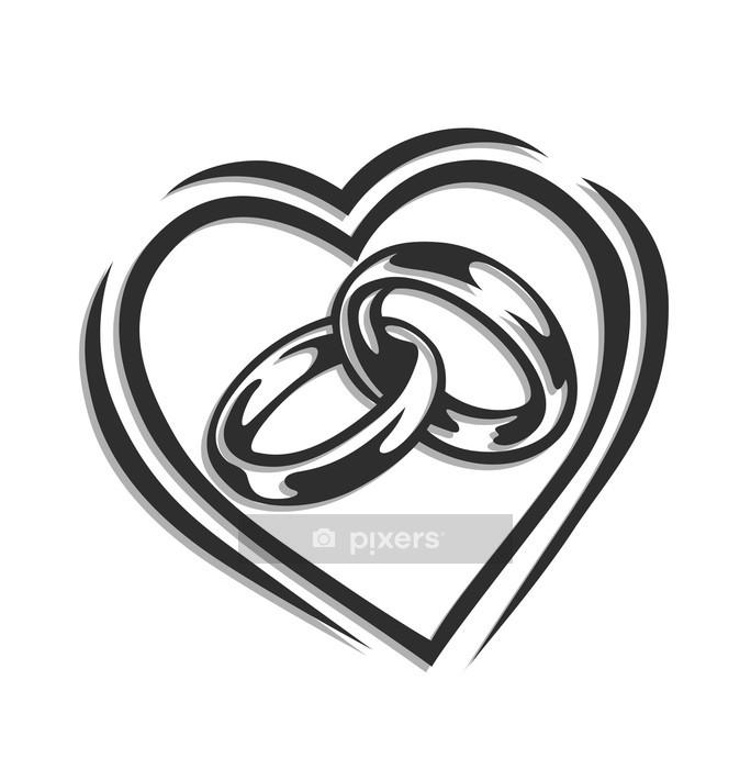 Adesivo da Parete Anello di nozze nel cuore illustrazione vettoriale isolato su bianco - Celebrazioni